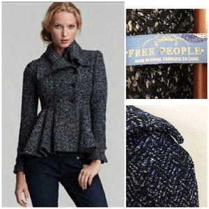 Free People peplum double breasted sweater coat 0